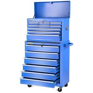 Chariot a outils PRO armoire en acier 4 roues 16 tiroirs bleu -GREENCUT