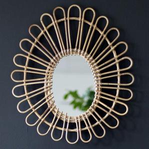 Miroir ovale en rotin Maya Moka
