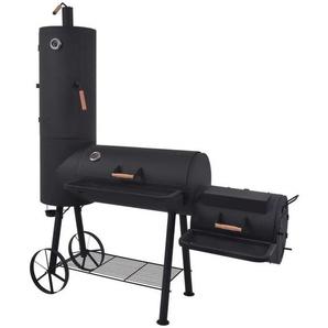 Hommoo Barbecue au charbon de bois avec étagère inférieure Noir XXL