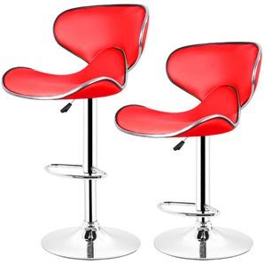 Lot de 8 tabourets de bar LOUNGE chaise haute design réglable avec dossier revêtement synthétique rouge - WYCTIN