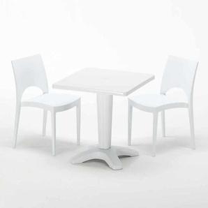 Table Carrée Blanche 70x70cm Avec 2 Chaises Colorées Grand Soleil Set Bar Café PARIS PATIO | Blanc