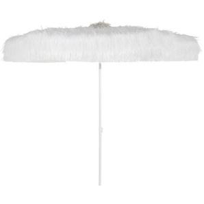 Parasol en métal et franges coloris blanc Iona
