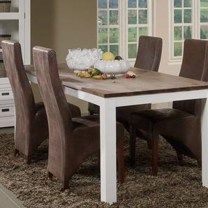 Table à manger contemporaine en bois massif blanc EMELINE