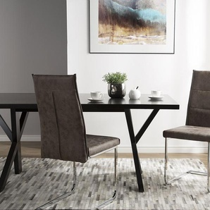 Chaise de cuisine en simili cuir marron ROCKFORD