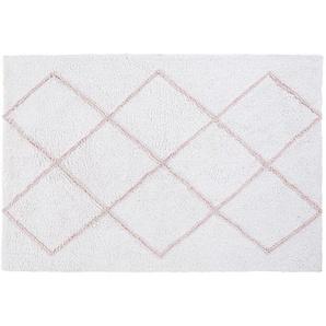Tapis en coton écru motifs graphiques rose 120x180