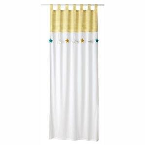 Rideau à passants en coton blanc et jaune à lunité 110x250