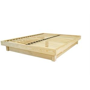 Lit plateforme bois massif pas cher 140x190 Vernis Naturel