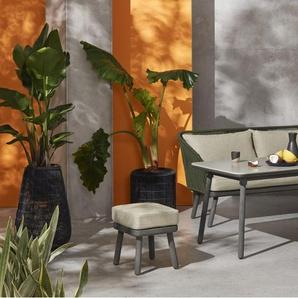 Alif, ensemble table et chaises d'angle d'extérieur, tressage vert et bois d'eucalyptus gris - Tables et chaises de jardin - Jardin