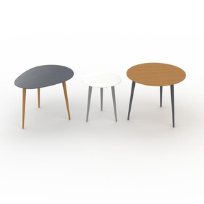 Tables basses gigognes - Chêne, ovale/ronde/ronde, design scandinave, set de 3 tables basses - 67/40/60 x 47/44/50 x 50/40/60 cm