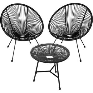 2 Fauteuils Acapulco et 1 Table de Jardin de Salon Design rétro Cadre en Acier Noir - TECTAKE