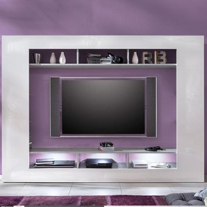 Ensemble TV design blanc laqué et couleur béton gris MARJOLAINE