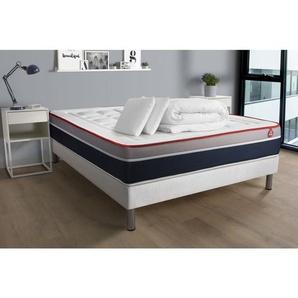 Pack prêt à dormir VITAL SOFT 140x190x26 Mousse à mémoire de forme maxi épaisseur + sommier kit blanc + 2oreillers + couett - VITALIT