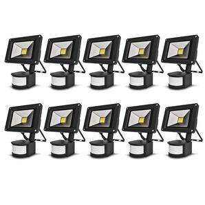10×Anten 10W Projecteur LED Détecteur de Mouvement Spot Éclairage LED Extérieur IP65 avec Détecteur Lampe de Sécurité Sensor Blanc Froid 6000K Couleur Noir