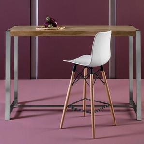 Table haute moderne couleur bois clair et chrome PASSI 2