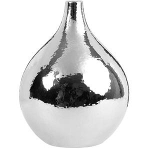 Vase boule en céramique argentée effet miroir H26