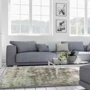 Tapis poil ras en viscose Donna Gris 200x200 cm - Tapis poil court design moderne pour salon