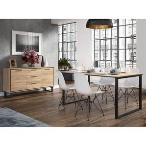 Frampol - Ensemble Table 160cm + Buffet 2 Portes 3 Tiroirs