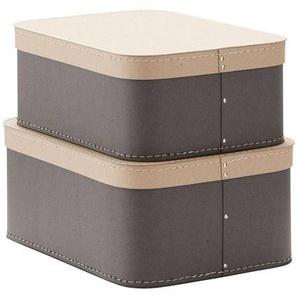 Kid's Concept Lot de 2 Boîtes de Rangement Rectangulaires - Gris