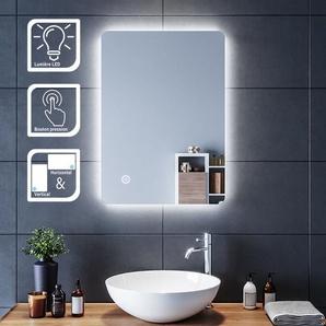 SIRHONA Miroir led 70x50 CM Miroir de salle de bains avec éclairage LED Miroir Cosmétiques Mural Lumière Illumination avec Commande par Effleurement