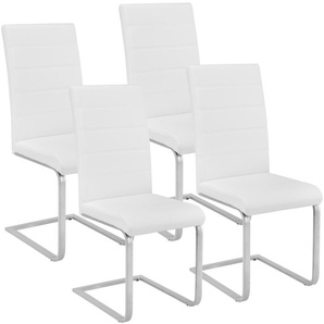 4 Chaises de Salle à Manger Rembourrées Design Moderne Pieds en métal Blanc - TECTAKE