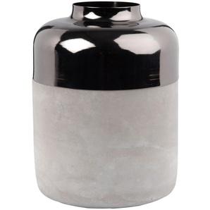 Vase en ciment et bord en métal chromé H20