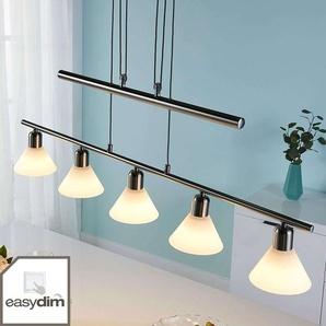 Suspension LED Eleasa, easydim à 5 lampes, nickel