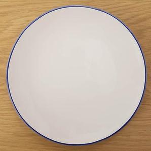 Assiette à dessert en faïence blanche et liseré bleu (par 4) Baltique