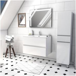 Ensemble Meuble de salle de bain blanc 60cm suspendu a 2 tiroirs + vasque ceramique blanche + miroir led integree + meuble colonne sur pied - STARTED pack 50 - AURLANE