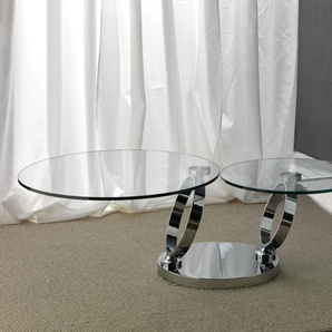 Table basse en cristal transparent et acier inox design DIAM