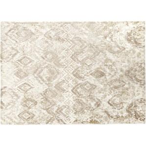 Tapis tissé coloris sable motifs graphiques 140x200