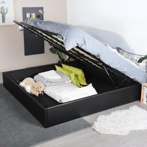 MAJESTY Lit coffre adulte - Contemporain - Simili noir - l 180 x L 200 cm