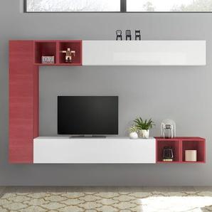 Meuble mural TV blanc laqué et rouge LIZZANO