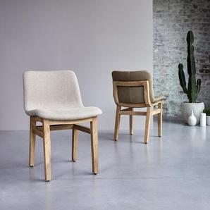 Chaise Cocoon linen en bois de chêne