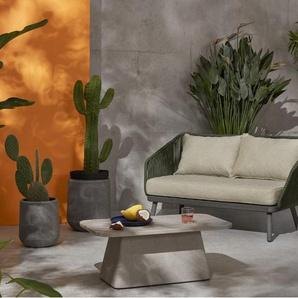 Alif, fauteuil d'extérieur, tissu beige et bois d'eucalyptus gris