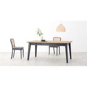 Ralph, table à rallonge pour 6 à 8 personnes, chêne et gris charbon