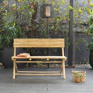 Banc pliant avec dossier en bambou naturel Taman