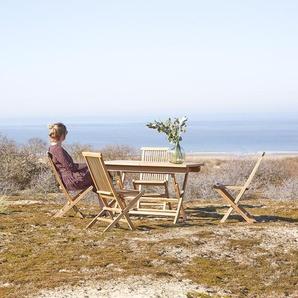 Salon de jardin en bois de teck 120 Capri 4 chaises