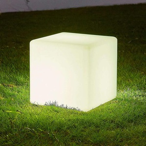 Lampe solaire LED Ziva cubique en blanc