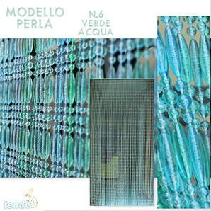 Rideau/Moustiquaire en PVC – modèle Perle - Bâtonnet DALUMINIUM - Made in Italy - Mesures Standard (95x200/100X220/120X230/130X240/150X250) - (120X230, VERT MARINE 6)