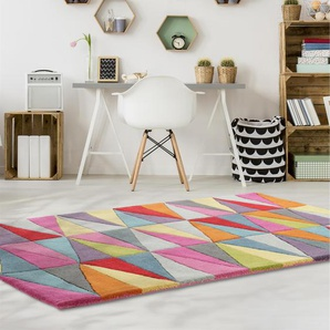 Tapis en laine Funk Triangles Multicouleur 70x200 cm