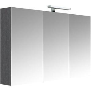 Meuble à miroir JUNO Chêne anthracite 120 cm - armoire de rangement pour salle de bain avec éclairage LED et bloc prise - ALLIBERT