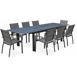 Salon de jardin table extensible - Philadelphie Gris anthracite - Table en aluminium 200/300cm, 8 fauteuils en textilène - ALICES GARDEN