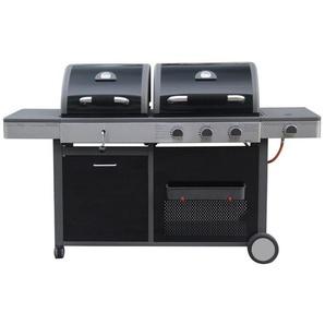 Barbecue à gaz et charbon 3 brûleurs 4 roues - L 58 x l 179 x H 105 - MA MAISON MES TENDANCES