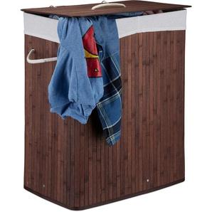 Corbeille à linge bambou, Panier à linge 2 compartiments, coffre pliable couvercle 95 litres, marron - RELAXDAYS