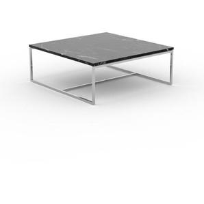 Table basse en marbre Noir Marquina, design contemporain, bout de canapé luxueux et sophistiqué - 81 x 31 x 81 cm, personnalisable