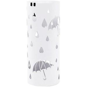 Porte parapluies en métal rond avec un plateau et crochets 49cm x Ø19.5cm Blanc LUC23W - SONGMICS