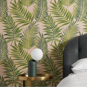 Fenna, papier peint motif palmes, rouleau de 10 m, rose pâle et vert