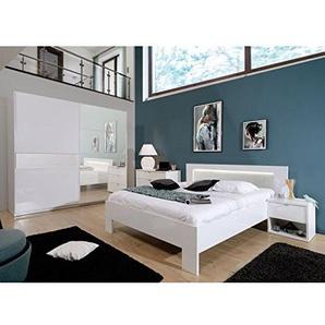 Tousmesmeubles Chambre Adulte Complète (160 * 200) Laqué Blanc - SENYA - L 209 x l 197 x H 95 - Neuf