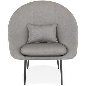 Fauteuil design lounge TOTEM en tissu gris clair