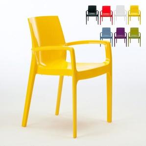 Chaise polypropylène empilable avec accoudoirs salle à manger CREAM Grand Soleil | Jaune